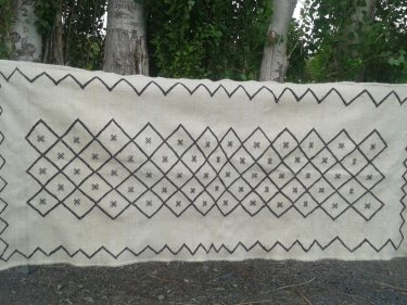 White, Black Natural Wool Rug