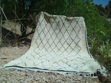 White, Black Wool and Cotton Warp Pile Rug