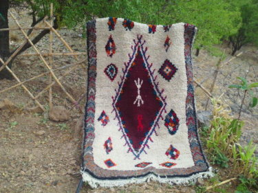 Red, Grey Wool and Cotton Warp Pile Rug