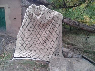 Black, White Wool and Cotton Warp Pile Rug