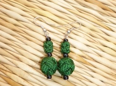 Green, Black Ball and Button Earrings