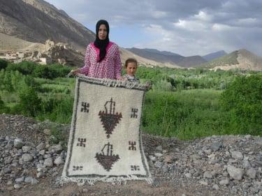 Brown, Grey Wool and Cotton Warp Beni Ourain