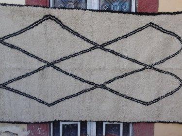 Black, White Pile Knot Rug