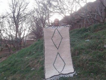Black, White Wool  and Thread Beni Ourain