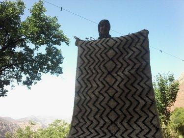 Black, White Wool Pile Knot Rug