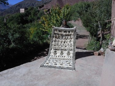 Colored Wool Pile Knot Rug