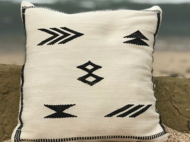 Black, White Bamboo Bamboo Pillow