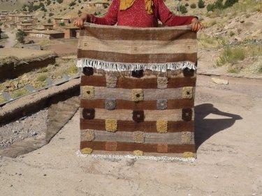 Colored Wool String and Wool Flatweave Rug
