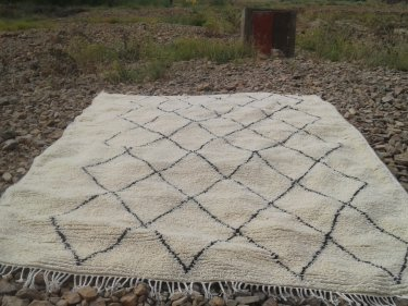 White Warp  and Wool Thread  Azilal Rug
