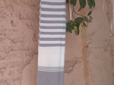 Grey, White Cotton Thread Towel