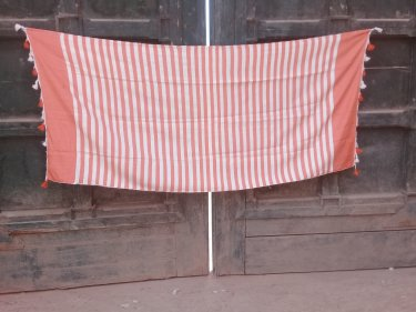 Orange, White Cotton Thread Towel