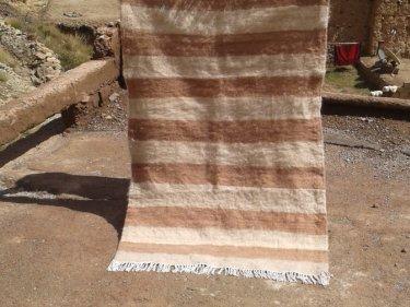 Brown, White Flatweave Rug