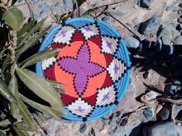 Colored Dyed Wool and Reed Basket