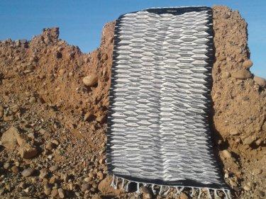 Grey, Black Flatweave Rug