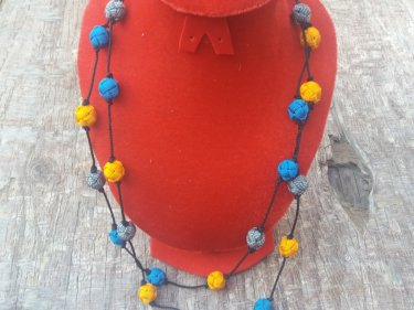 Blue, Orange  Necklace