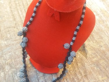 Black, White  Multistrand Necklace