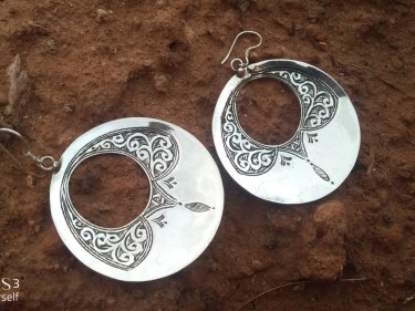 Black, White 800 Tiznit Silver Earrings