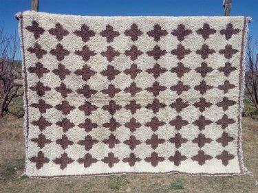 Brown, White Pomegranite Pile Knot Rug