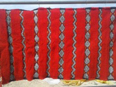 Red, Black Flatweave Rug