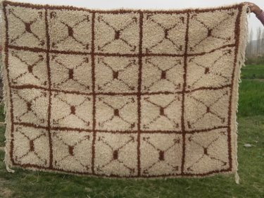 Brown, White  Pile Knot Rug