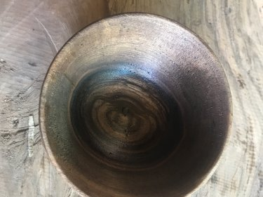 Brown Walnut Wood Hand Carved Bowl