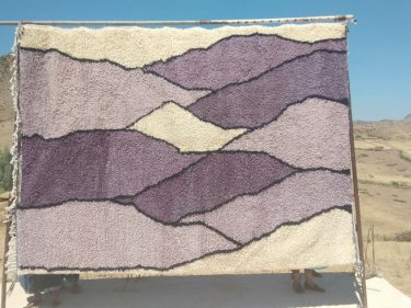 Purple, Black Beni Ourain Rug