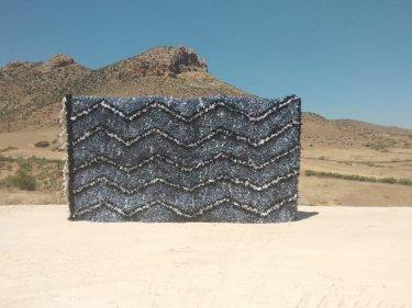 Grey, Black Boucherouite Rug