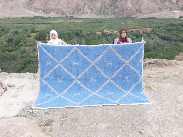 Blue, White Wool and Cotton Warp Beni Ourain
