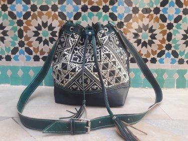 Green, Black leather and Sabra silk bag
