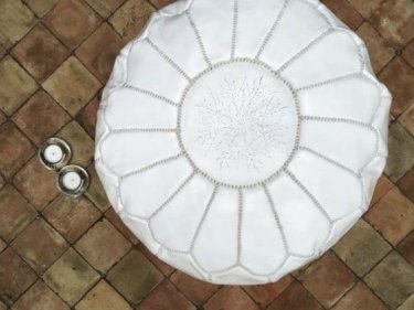 White leather and Sabra silk Pouf