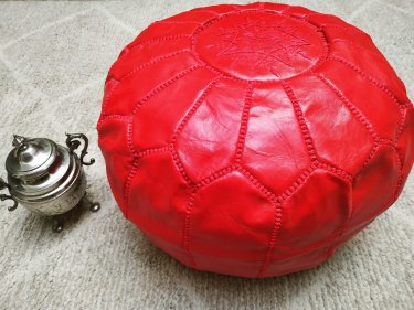 Red leather and Sabra silk Pouf