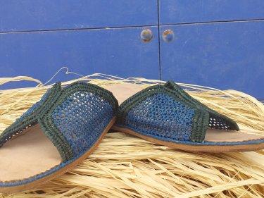 Light Blue, Green Boho Shoes