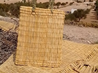 White Water Reed and Palm Rope Wine Basket
