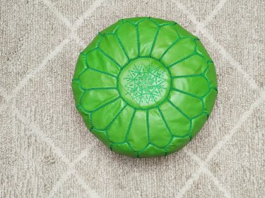 Green leather and Sabra silk Pouf