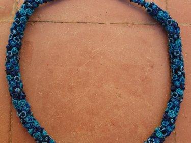 Light Blue, Blue  Cluster Necklace