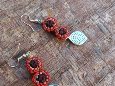 Red, Brown  Button Dangle Earrings