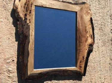 Blue, Brown Walnut Wood Mirror
