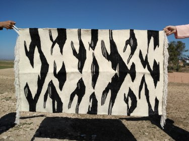 Black, White Natural wool Handira