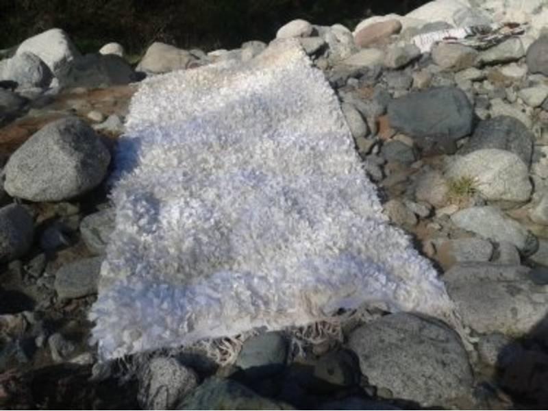 White Warp and Cloth rags Boucherouite