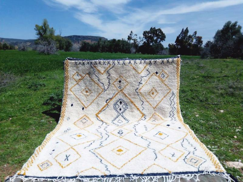 Blue, Yellow Beni Ourain Rug