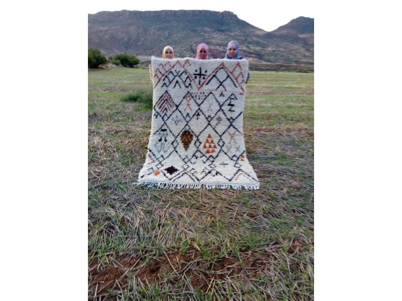 Colored Wool and Dyed Wool Beni Ourain Rug