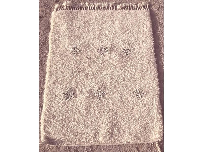 Black, White Wool Pile Knot Rug | Fair Trade Morocco Anou