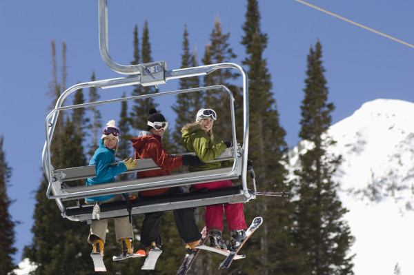 Friends on a ski lift