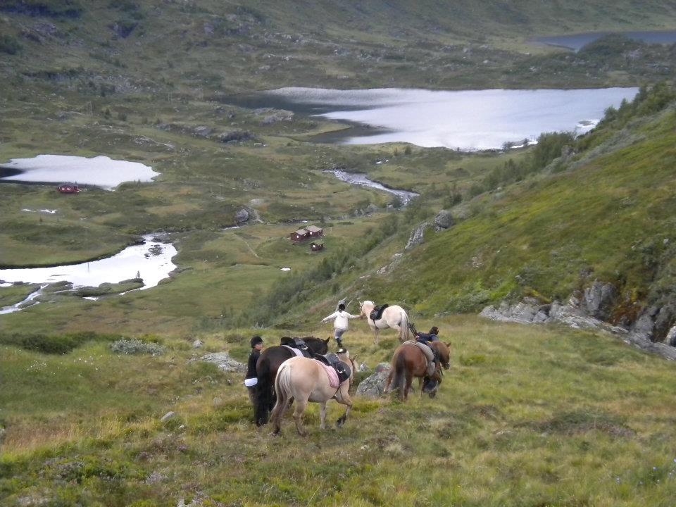 Trekking in Norwegian countryside