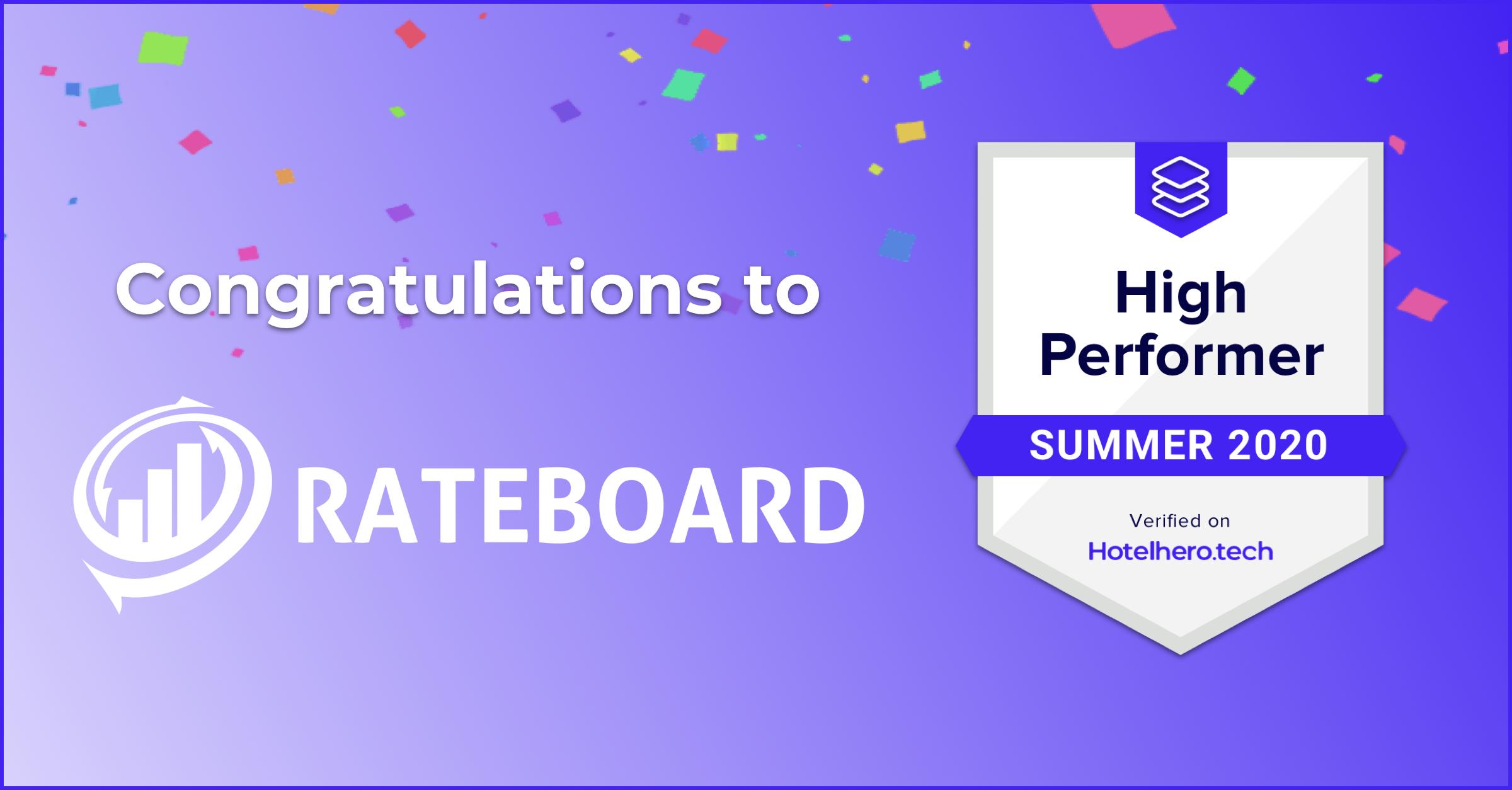 Rateboard earns Hotelhero High Performer badge