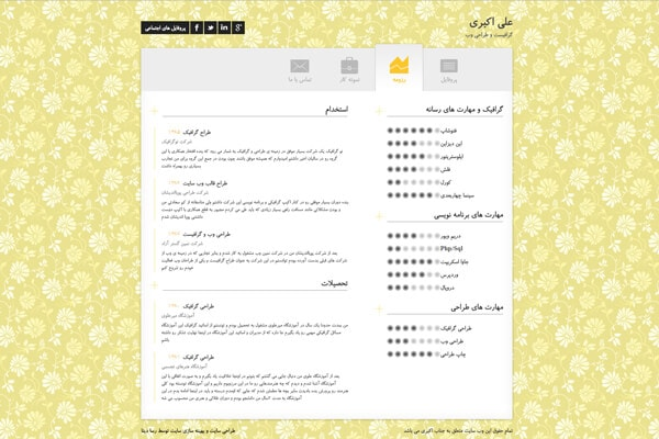 نمونه کار طراحی سایت شخصی