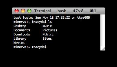 Default OS X ls output