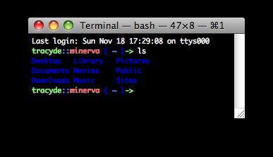 OS X tweaked ls output