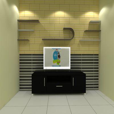 Unique Television Backdrop + Shelves | SARAÈ