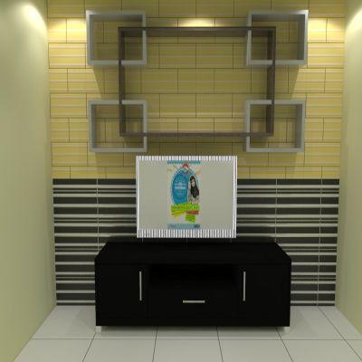 Unique Television Backdrop + Shelves 2 | SARAÈ